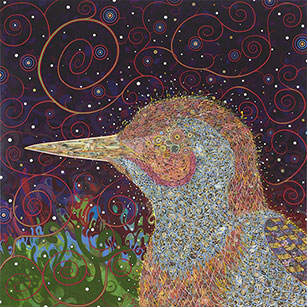 Fred Tomaselli  (American , born 1956) Woodpecker 2008 Acrylic, gouache, collage, and epoxy resin on wood 72 x 72 in Pamela K. and William A. Royall, Jr. and Sydney and Frances Lewis Endowment Fund 